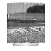 Cold Day On The Pier Shower Curtain