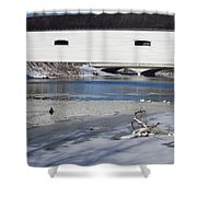 Cold January Morning At The Bridge Shower Curtain