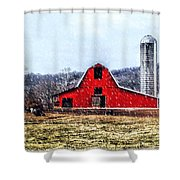 Cold Winter Day At The Farm Shower Curtain