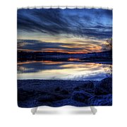 Cold Winter Sunset On The Lake Shower Curtain