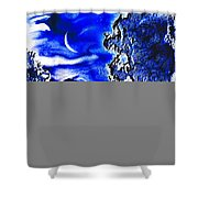 Cold Crescent Moon Phase Shower Curtain