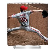 Cole Hamels - Pregame Warmup Shower Curtain by Stephen Stookey