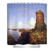 Cole's Italian Coast Scene With Ruined Tower Shower Curtain
