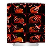 Collage Drum Bang Boom - Red Shower Curtain