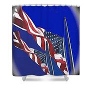Collage Half Mast Flag Honoring President Ronald Reagan Number 2 Casa Grande Az  2004-2013 Vignetted Shower Curtain
