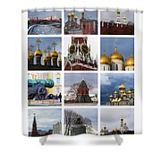 Collage Moscow Kremlin 1 - Featured 3 Shower Curtain