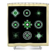 Collage Of Green Fractals Shower Curtain