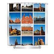 Collage - Red Square In The Morning Shower Curtain
