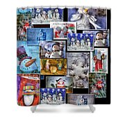 Collage Xmas Cards Vertical Photo Art Shower Curtain