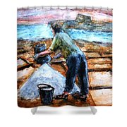 Collecting Salt At Xwejni Gozo Shower Curtain by Marco Macelli