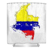 Colombia Painted Flag Map Shower Curtain