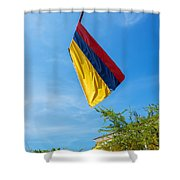 Colombian Flag And Blue Sky Shower Curtain