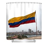 Colombian Flag Over Cartagena Shower Curtain