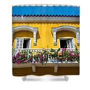 Colonial Balcony In Cartagena Shower Curtain