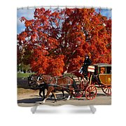 Carriage In Autumn Shower Curtain