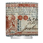 Colonial Currency, 1776 Shower Curtain
