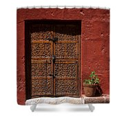 Colonial Door And Geranium Shower Curtain