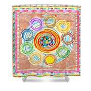 Color Circles Crystal Stones Borders Chakra Energy Healing Shower Curtain