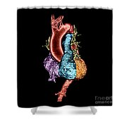 Color Enhanced 3d Ct Of Heart Shower Curtain