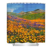 Color Filled Hills Shower Curtain