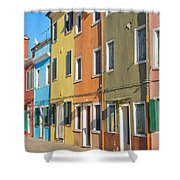 Color Houses In Row Shower Curtain