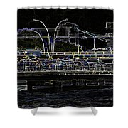 Color Pencil - Visitors On Viewing Plaza On Singapore River Next To The Merlion Shower Curtain