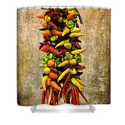 Color Peppers From Spain With Textured Background Dsc01467 Shower Curtain