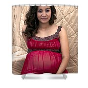 Color Portrait Young Pregnant Spanish Woman I Shower Curtain