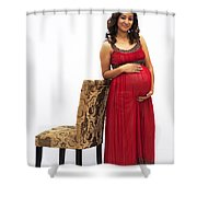 Color Portrait Young Pregnant Spanish Woman Leaning On Chair Shower Curtain