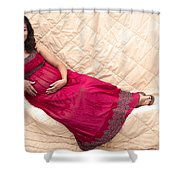 Color Portrait Young Pregnant Spanish Woman Reclining Shower Curtain