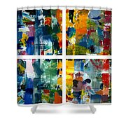 Color Relationships Collage Shower Curtain