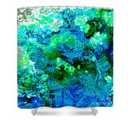 Color Wash Abstract In Blue Shower Curtain