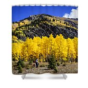 Colorado Autumn Hike Shower Curtain