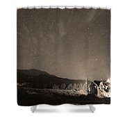 Colorado Chapel On The Rock Dreamy Night Sepia Sky Shower Curtain