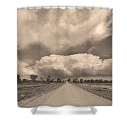 Colorado Country Road Sepia Stormin Skies Shower Curtain