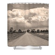 Colorado Country Road Stormin Sepia  Skies Shower Curtain