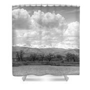 Colorado Front Range Rocky Mountains Panorama Bw Shower Curtain