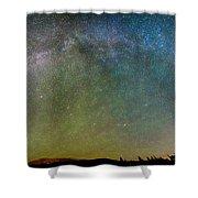 Colorado Indian Peaks Milky Way Panorama Shower Curtain