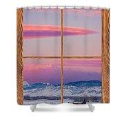 Colorado Moon Sunrise Barn Wood Picture Window View Shower Curtain