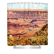 Colorado River One Mile Below And 18 Miles Across The Grand Canyon  Shower Curtain