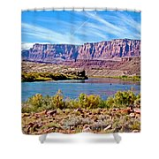 Colorado River Upstream From Boat Ramp At Lee's Ferry In Glen Canyon National Recreation Area-az Shower Curtain