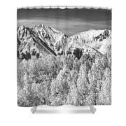 Colorado Rocky Mountain Autumn Magic Black And White Shower Curtain