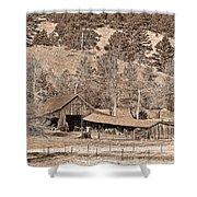 Colorado Rocky Mountain Barn Sepia Shower Curtain