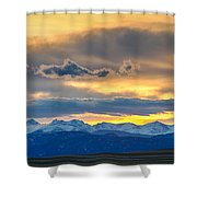 Colorado Rocky Mountain Front Range Sunset Gold Shower Curtain