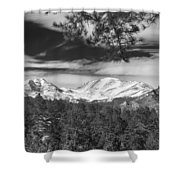 Colorado Rocky Mountain View Black And White Shower Curtain