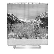 Colorado Rocky Mountain Winter Horseshoe Park Bw Shower Curtain