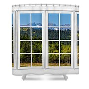 Colorado Rocky Mountains White Window Frame View Shower Curtain