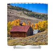 Colorado Rustic Rural Barn With Autumn Colors  Shower Curtain