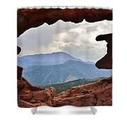 Colorado Siamese Twins Pikes Peak View Shower Curtain by Robert D  Brozek