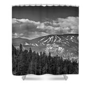 Colorado Ski Slopes In Black And White Shower Curtain